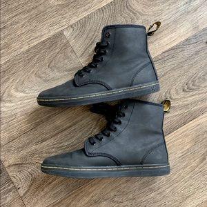 Matte black leather doc martens